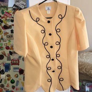 VTG button down blouse mod yellow black piping